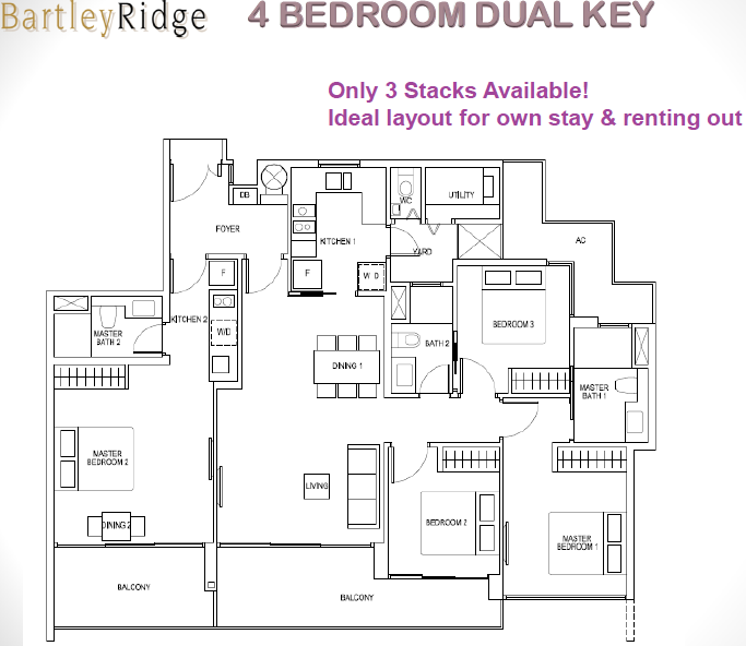 Bartley Ridge Floor Plan 4BR Dual Key